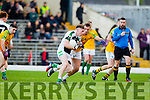 Paul O'Donoghue  South Kerry in action against Conor Keane  Legion at the Kerry County Senior Football Final at Fitzgerald Stadium on Sunday.
