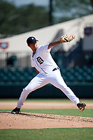 Detroit Tigers pitcher Aaron Fernandez (9) delivers a pitch during an Instructional League game against the Toronto Blue Jays on October 12, 2017 at Joker Marchant Stadium in Lakeland, Florida.  (Mike Janes/Four Seam Images)
