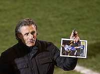 Wycombe Wanderers Manager Gareth Ainsworth holds the matchday programme before the Sky Bet League 2 match between Colchester United and Wycombe Wanderers at the Weston Homes Community Stadium, Colchester, England on 21 February 2017. Photo by Andy Rowland / PRiME Media Images.