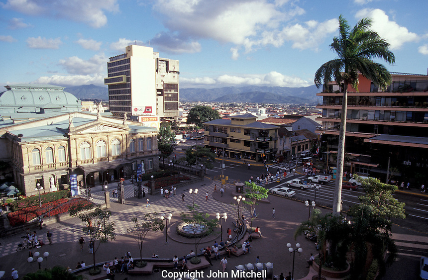 The Teatro Nacional and the Plaza de la Cultura in downtown San Jose, Costa Rica. Taken from the top of the Gran Hotel Costa Rica.