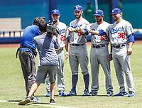 Pitcher de juego sin hit ni carreras. No No. <br /> Walker Buehler, Alex Wood, Adam Liberatore (R)<br /> <br /> <br /> Acciones del partido de beisbol, Dodgers de Los Angeles contra Padres de San Diego, tercer juego de la Serie en Mexico de las Ligas Mayores del Beisbol, realizado en el estadio de los Sultanes de Monterrey, Mexico el domingo 6 de Mayo 2018.<br /> (Photo: Luis Gutierrez)