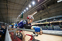 Picture by Allan McKenzie/SWpix.com - 06/01/2018 - Track Cycling - Revolution Champion Series 2017 - Round 3 - National Cycling Centre, Manchester, England - Racers prepare to start in the Future Stars Madison race.