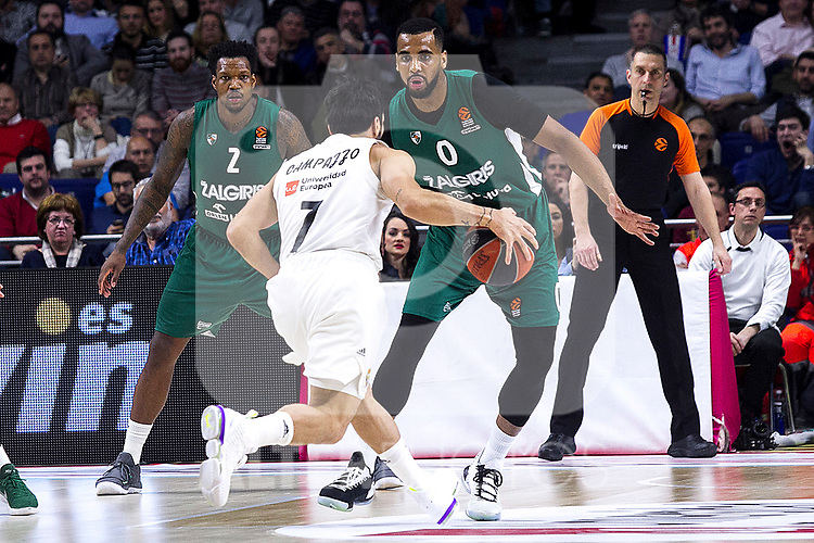 Zalgiris' Deon Thompson, Real Madrid's Facundo Campazzo and Zalgiris' Brandon Davies during Euroligue match between Real Madrid and Zalgiris Kaunas at Wizink Center in Madrid, Spain. April 4, 2019.  (ALTERPHOTOS/Alconada)