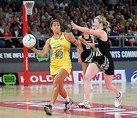 16.09.2012 Silver Ferns Camilla Lees and Australian Mo'onia Gerrard in action during the first netball test match between the Silver Ferns and the Australian Diamonds played at the Hisense Arena In Melbourne. Mandatory Photo Credit ©Michael Bradley.