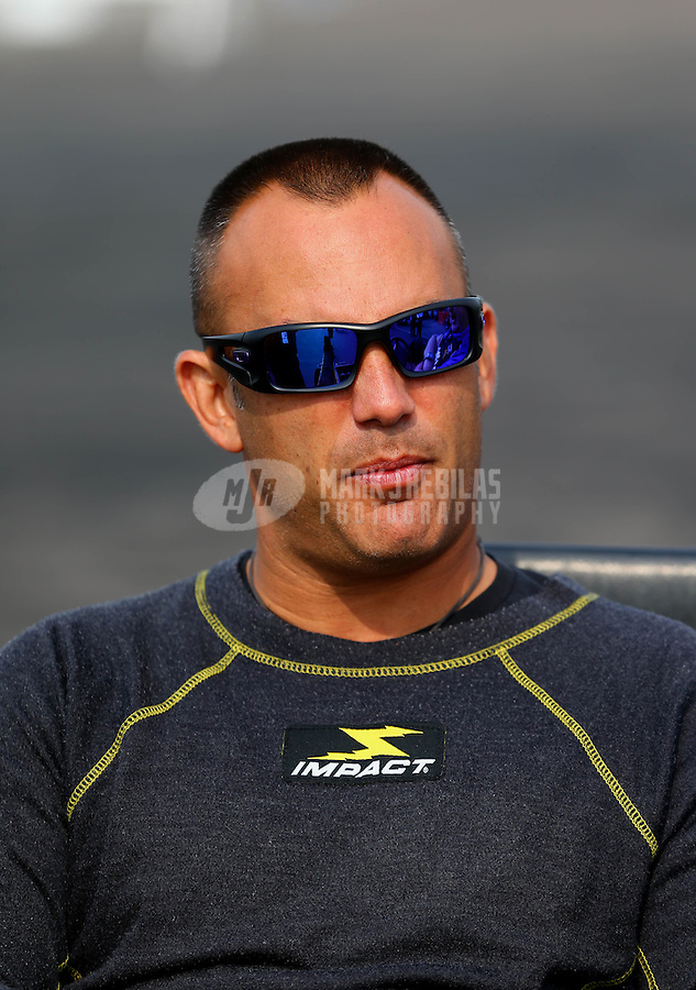 Aug. 18, 2013; Brainerd, MN, USA: NHRA top fuel dragster driver Tony Schumacher during the Lucas Oil Nationals at Brainerd International Raceway. Mandatory Credit: Mark J. Rebilas-