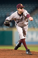Arizona State's Jeff Urlaub (25) follows through on a pitch versus Vanderbilt at the 2007 Houston College Classic at Minute Maid Park in Houston, TX, Saturday, February 10, 2007.  The Commodores defeated the Sun Devils 7-6 in 10 innings.
