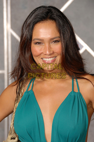 "TIA CARRERE .""Dan In Real Life"" Los Angeles Premiere at the El Capitan Theatre, Hollywood, California, USA..October 24th, 2007.headshot portrait blue green turquoise.CAP/ADM/BP.©Byron Purvis/AdMedia/Capital Pictures."