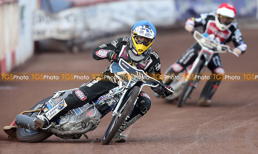 Heat 2: Adam Ellis (blue) and Ben Morley (red) on their way to a 5-1 - Lakeside Hammers vs Belle Vue Aces, Elite League Speedway at the Arena Essex Raceway, Pufleet - 06/06/14 - MANDATORY CREDIT: Rob Newell/TGSPHOTO - Self billing applies where appropriate - 0845 094 6026 - contact@tgsphoto.co.uk - NO UNPAID USE