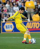 Earthquakes' goalkeeper Joe Cannon kicks the ball during the game against Real Salt Lake at Buck Shaw Stadium in Santa Clara, California on March 27th, 2010.   Real Salt Lake defeated San Jose Earthquakes, 3-0.