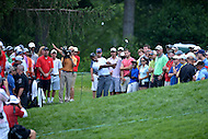 Bethesda, MD - June 27, 2014: Tiger Woods plays his second shot on hole 2 of the Quicken Loans National at the Congressional Country Club in Bethesda, MD.  (Photo by Don Baxter/Media Images International)