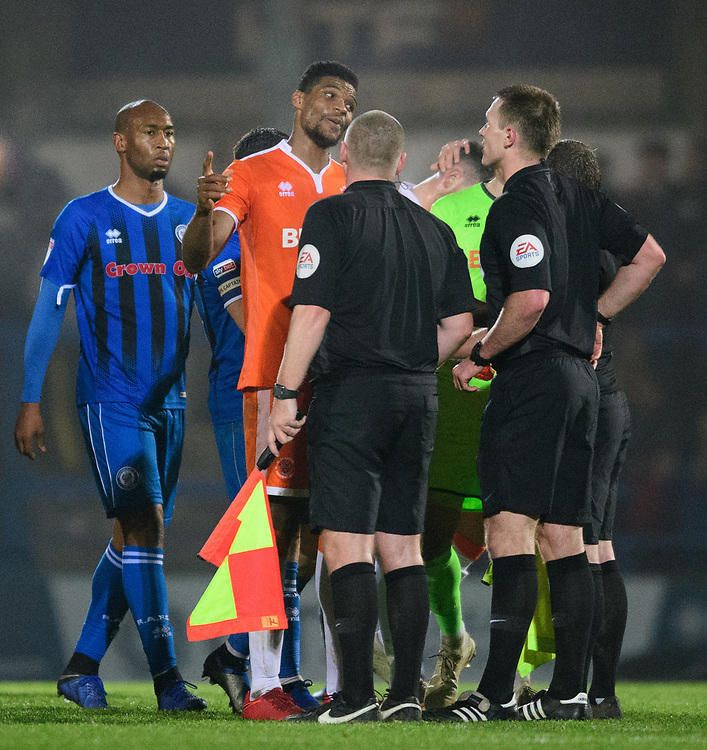 Blackpool's Michael Nottingham speaks to referee Thomas Bramall at the end of the game<br /> <br /> Photographer Chris Vaughan/CameraSport<br /> <br /> The EFL Sky Bet League One - Rochdale v Blackpool - Wednesday 26th December 2018 - Spotland Stadium - Rochdale<br /> <br /> World Copyright © 2018 CameraSport. All rights reserved. 43 Linden Ave. Countesthorpe. Leicester. England. LE8 5PG - Tel: +44 (0) 116 277 4147 - admin@camerasport.com - www.camerasport.com