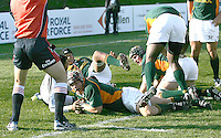 South Africa's Johan van Deventer scores his team's second try in the pool game during the Under 19 RWC against Fiji at Harlequins, Belfast.