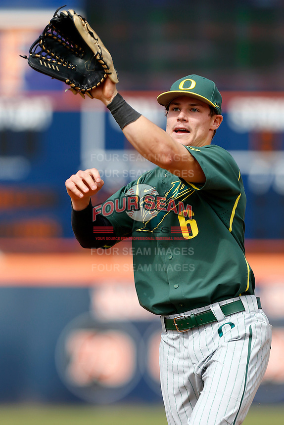 Scott Heineman #6 of the Oregon Ducks during a baseball game against the Cal State Fullerton Titans at Goodwin Field on March 3, 2013 in Fullerton, California. (Larry Goren/Four Seam Images)