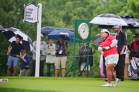 Christina Kim (USA) watches her tee shot on 1 during Friday's second round of the 72nd U.S. Women's Open Championship, at Trump National Golf Club, Bedminster, New Jersey. 7/14/2017.<br /> Picture: Golffile | Ken Murray<br /> <br /> <br /> All photo usage must carry mandatory copyright credit (&copy; Golffile | Ken Murray)