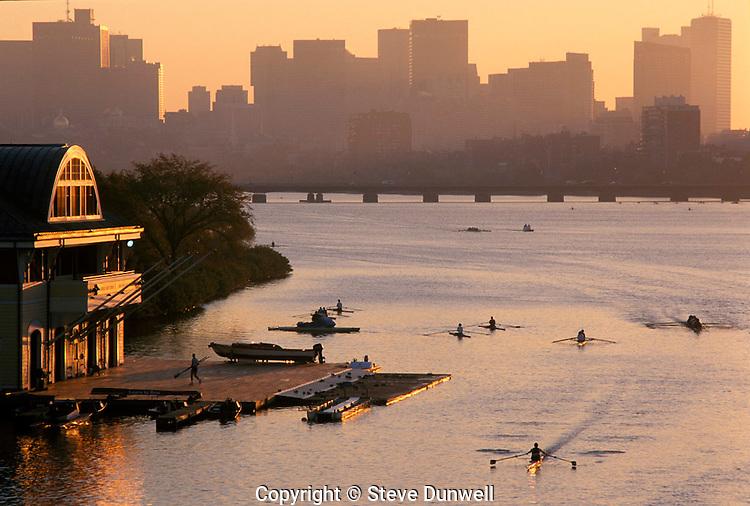 BU boathouse sunrise rowing Boston, MA