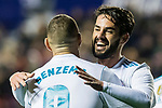Isco Alarcon of Real Madrid (R) celebrates after scoring his goal with Karim Benzema of Real Madrid (L) during the La Liga 2017-18 match between Levante UD and Real Madrid at Estadio Ciutat de Valencia on 03 February 2018 in Valencia, Spain. Photo by Maria Jose Segovia Carmona / Power Sport Images