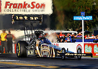Nov 7, 2013; Pomona, CA, USA; NHRA top fuel dragster driver Khalid Albalooshi during qualifying for the Auto Club Finals at Auto Club Raceway at Pomona. Mandatory Credit: Mark J. Rebilas-