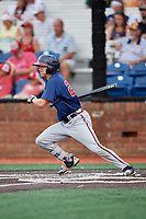 Danville Braves left fielder Andrew Moritz (25) follows through on a swing during a game against the Johnson City Cardinals on July 28, 2018 at TVA Credit Union Ballpark in Johnson City, Tennessee.  Danville defeated Johnson City 7-4.  (Mike Janes/Four Seam Images)
