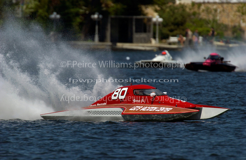 "George Kennedy, Jr., T-80 ""Outlaw"", 1 Litre Stock hydroplane..Lake Hopatcong, NJ USA 17 May, 2003.©F. Peirce Williams 2003..F. Peirce Williams .photography.P.O.Box 455 Eaton, OH 45320.p: 317.358.7326  e: fpwp@mac.com."