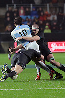 Brodie Retallick puts in a big tackle on Nicholas Sanchez,  during the 2013 Rugby Championship - All Blacks v Argentina at Waikato Stadium, Hamilton, New Zealand on Saturday, 7th September   2013. Copyright Dion Mellow Photography. Credit DMP / Dion Mellow