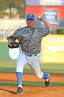 Pitcher Brett Oberholtzer #12 of the Myrtle Beach Pelicans pitching during a game against the Salem Red Sox on May 15, 2010 in Myrtle Beach, SC. On this night, the Pelicans wore special camouflage  jerseys that were later auctioned off for charity.