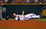 13 September 2008: Cleveland Indians' outfielder Grady Sizemore is caught in a rundown in the third inning against the Kansas City Royals at Progressive Field in Cleveland, Ohio. The Royals defeated the Indians 8-4 in the second game, sweeping their double-header...Mandatory Photo Credit: Ed Wolfstein Photo