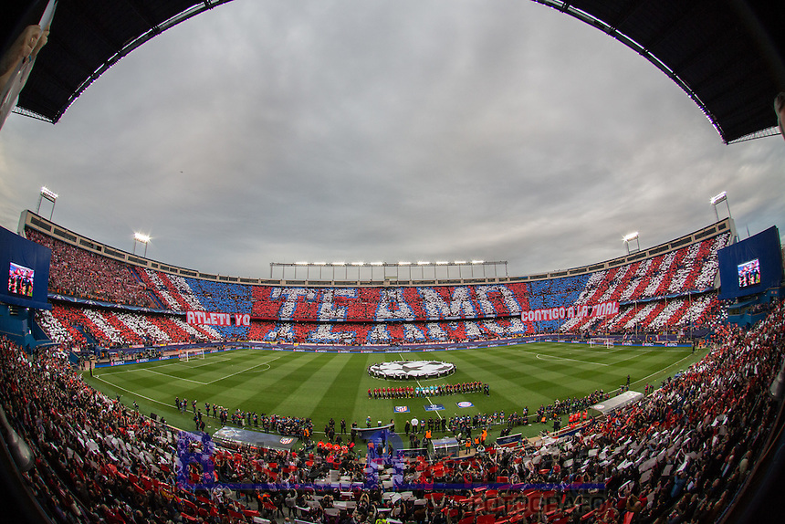 GREAT MOSAIC OF ATLETICO MADRID FANS during the UEFA Champions League match between Atletico Madrid and Fc Bayern Munich at the Vicente Calderon Stadium in Madrid, Wednesday, April 27, 2016.