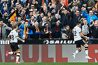 25th January 2020; Mestalla, Valencia, Spain; La Liga Football,Valencia versus Barcelona; Maxi Gomez of Valencia CF celebrates after scoring the first goal for his team in minute 47'