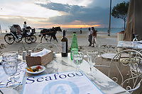 Dinner at a waterfront restaurant. Horse drawn carriage. Seafood restaurant at Macedonia Palace Hotel. Thessaloniki, Macedonia, Greece