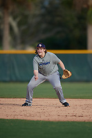 Chris Adams (28), from Martinsville, Indiana, while playing for the Tigers during the Baseball Factory Pirate City Christmas Camp & Tournament on December 27, 2017 at Pirate City in Bradenton, Florida.  (Mike Janes/Four Seam Images)