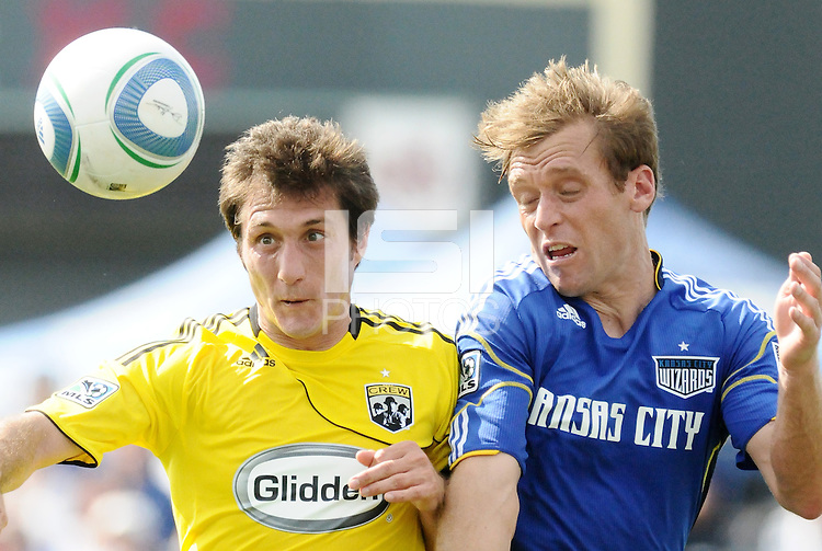 Guillermo Barros Schelotto, Jimmy Conrad.....Kansas City Wizards were defeated 1-0 by Columbus Crew at Community America Ballpark, Kansas City, Kansas...Kansas City Wizards were defeated 1-0 by Columbus Crew at Community America Ballpark, Kansas City, Kansas.