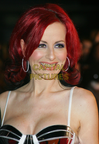 CARRIE GRANT.Arrivals at The Brit Awards 2008 Earl's Court, London, England. .February 20th, 2008.brits headshot portrait white silver metallic hoop earrings.CAP/ROS.©Steve Ross/Capital Pictures.