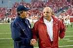MADISON, WI - SEPTEMBER 24: Head coach Barry Alvarez, right, of the Wisconsin Badgers and head coach Llyod Carr of the Michigan Wolverines chat before the game at Camp Randall Stadium on September 24, 2005 in Madison, Wisconsin. The Badgers beat the Wolverines 23-20. Photo by David Stluka.