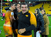 Agustin Creevy celebrates winning the Super Rugby match between the Hurricanes and Jaguares at Westpac Stadium in Wellington, New Zealand on Friday, 17 May 2019. Photo: Dave Lintott / lintottphoto.co.nz