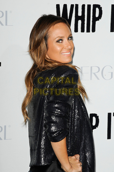 """CATT SADLER .arriving at the L.A. premiere of """"Whip It"""" at Grauman's Chinese Theatre, Hollywood, California, USA, .September 29th, 2009.half length black sequined sequins jacket shiny  looking over shoulder .CAP/ROT.©Lee Roth/Capital Pictures"""