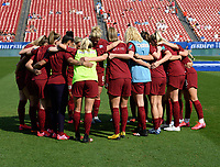FRISCO, TX - MARCH 11: England huddles on the pitch during a game between England and Spain at Toyota Stadium on March 11, 2020 in Frisco, Texas.
