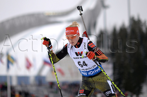 09.03.2016. Holmenkollen, Oslo, Norway. IBU Biathlon World Cup.  Maren Hammerschmidt of Germany in action during the Women 15km Individual competition at the Biathlon World Championships, in the Holmenkollen Ski Arena, Oslo, Norway, 09 March 2016.