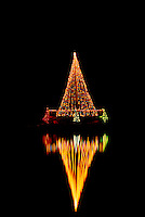 "Christmas Tree Lights reflecting in ""Lost Lagoon"" at Night, Stanley Park, Vancouver, BC, British Columbia, Canada"