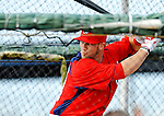 25 February 2012: Washington Nationals' outfielder Bryce Harper takes batting practice during the first full squad Spring Training workout at the Carl Barger Baseball Complex in Viera, Florida. Mandatory Credit: Ed Wolfstein Photo