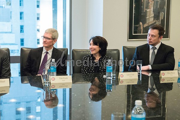 United States President-elect Donald Trump, Vice President-elect Mike Pence, cabinet nominees and technology company chiefs are seen at a meeting  in the Trump Organization conference room at Trump Tower in New York, NY, USA on December 14, 2016. Photo Credit: Albin Lohr-Jones/CNP/AdMedia