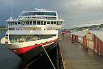 Hurtigruten ship 'Trollfjord' at port quayside of Rorvik, Norway