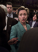 United States Senator Hillary Rodham Clinton (Democrat of New York) arrives for U.S. President George W. Bush's  speech before a Joint Session of Congress, Tuesday, February 27, 2001 in Washington, D.C.  <br /> Credit: Doug Mills / Pool via CNP