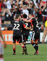 Dwayne De Rosario (7) of D.C. United celebrates his score in the 10th minute of the game. Toronto FC tied D.C. United 1-1, at RFK Stadium, Saturday August 24 , 2013.
