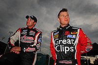 May 31, 2008; Dover, DE, USA; Nascar Nationwide Series driver David Stremme (left) and Jason Leffler during the Heluva Good 200 at the Dover International Speedway. Mandatory Credit: Mark J. Rebilas-