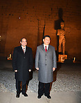 Egyptian President Abdel Fattah al-Sisi and Chinese President Xi Jinping pose for a picture during the Chinese president's visit to Luxor temple in Luxor, Egypt, January 21, 2016. Photo by Egyptian President Office