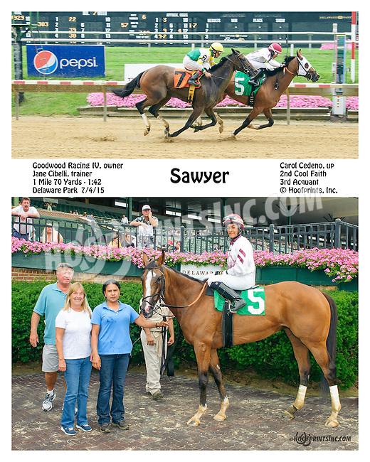 Sawyer winning at Delaware Park on 7/4/15