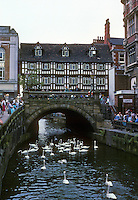 Lincoln: The High Bridge. The building is 16th century. Photo '90.