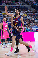 Estudiantes Alex Brown and FC Barcelona Lassa Pierre Oriole during Liga Endesa match between Estudiantes and FC Barcelona Lassa at Wizink Center in Madrid, Spain. October 22, 2017. (ALTERPHOTOS/Borja B.Hojas) /NortePhoto.com