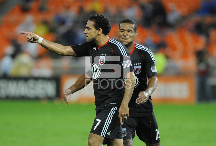 D.C. United forward Dwayne De Rosario (7) celebrates with teammate Ethan White (15) in the 39th minute of the game. Chivas USA tied D.C. United 2-2 at RFK Stadium, Wednesday  September 20 , 2011.