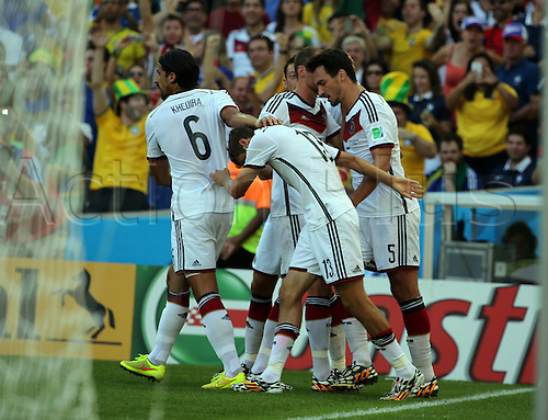 04.07.2014. Stadion Maracana, Rio de Janeiro, Brazil. Mats Hummels celebrates his headed goal for 1-0 with team mates. Germany versus France FIFA Football World Cup Brazil
